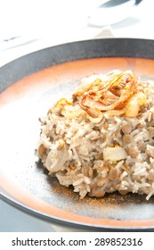 Mujadarra traditional Lebanese dish with rice and lentils onions