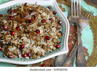 Mujaddara or Traditional Rice and Lentils Topped with Crispy Onions.