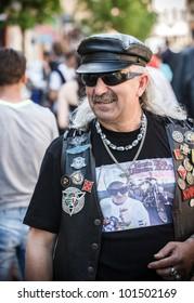 MUKACHEVO, UKRAINE - MAY 1: Unidentified participants arrive at the International Bikers of Transcarpathia event on May 1, 2012 in Mukachevo, Ukraine.