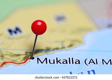 Mukalla pinned on a map of Yemen