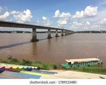 Mukdahan, Thailand-่July 27, 2020 : The 2nd Thai-Laos Friendship Bridge Connecting the Mukdahan province of Thailand With the Suwannakhet province of Laos