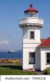 Mukilteo Lighthouse Nautical Scene and incoming WSDOT Ferry Boat West Coast