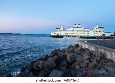 MUKILTEO, WASHINGTON USA - JAN 2017: WA State Department of Transportation Ferry Terminal