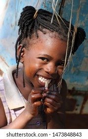 MUKUNI - ZAMBIA - JANUARY 8, 2011: Unidentified beautiful girl in Mukuni village near Livingstone
