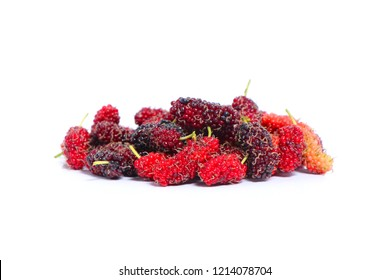 Mulberries fruit and mulberry leaf on white background.