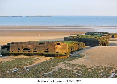 Mulberry harbour remains, Arromanches beach