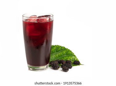 Mulberry juice with mulberry fruits and leaves isolated on white background. - Shutterstock ID 1913575366