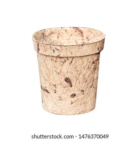 Mulberry paper pot isolated on white background with clipping path , recycle concept