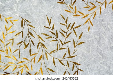 Mulberry paper texture with golden and silver leaf