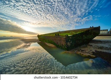 Mulberry pontoon at Arromanche Normandy France