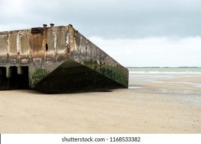 Mulberry pontoon at Arromanche Normandy France
