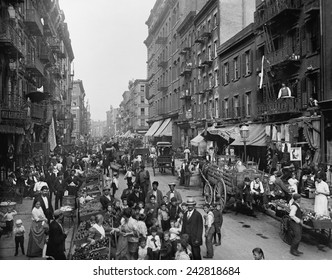 Mulberry Street in New York City's Little Italy ca. 1900.