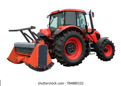The mulcher. Agricultural machine for soil preparation. Isolated on white.
