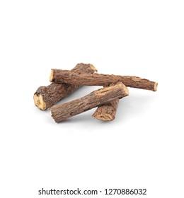 Mulethi Wood Stick isolated on white Background