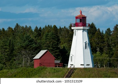 Mulholland Point lighthouse on Campobello Island on the Canadian border, on a warm summer day in June.