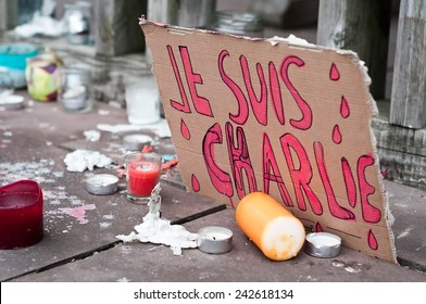 MULHOUSE - France - 08 January 2015 - March against Charlie Hebdo magazine terrorism attack, on January 7th, 2015 in Paris