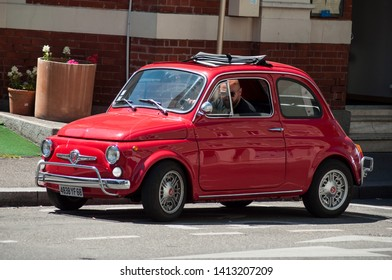 Mulhouse - France - 1 June 2019 - old red Fiat 500 Abarth parked in the street