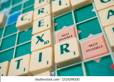 Mulhouse - France - 1 October 2019 - Closeup of plastic letters on Scrabble board game forming the word : Brexit