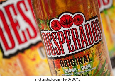 Mulhouse - France - 10 February 2020 - Closeup of Desperados bier on white background, desperados is the famous brand of mexican bier with tequila