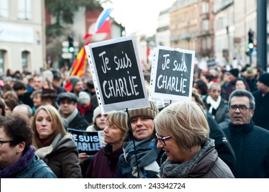 MULHOUSE - France - 11 January 2015 - March against Charlie Hebdo magazine terrorism attack, on January 7th, 2015 in Paris