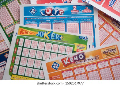 Mulhouse - France - 11 September 2019 - Closeup of various french grids of lotto  from the society la francaise des jeux