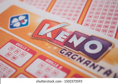 Mulhouse - France - 11 September 2019 - Closeup of french grids of Keno lotto  from the society la francaise des jeux