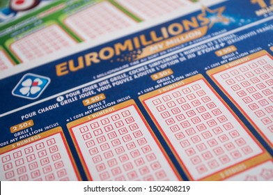 Mulhouse - France - 11 September 2019 - Closeup of french grids of lotto and euro millions  from the society la francaise des jeux