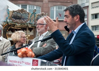 MULHOUSE - France - 12 September 2015 - Jean Rottner mayor of Mulhouse speech in the traditinal onion party