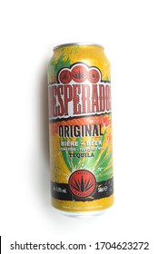 Mulhouse - France - 15 April 2020 - Closeup of Desperados beer flavored tequila cocktail in a metallic can on white background