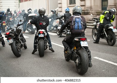 MULHOUSE - France - 16 April 2016 - group of bikers back and motorcycles in the street during the event bikers angry against the technical inspection of motorcycles