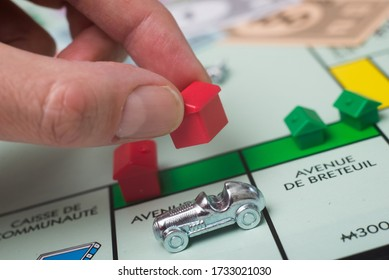 Mulhouse - France - 16 May 2020 - Closeup of the famous fast-dealing property trading monopoly board game