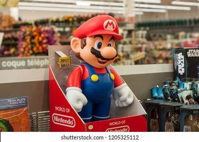 Mulhouse - France - 17 October 2018 - closeup of super MArio character in the Nintendo company of the famous video gaming in supermarket