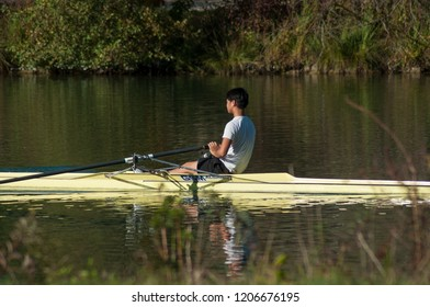 Mulhouse - France - 17 October 2018 - woman  rowing in the channel