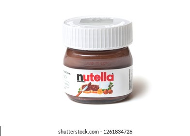 Mulhouse - France - 19 December 2018 - Closeup of mini Nutella container on white background
