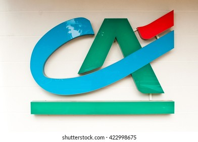 "MULHOUSE - France 19 May 2016 - retail of the logo of the bank ""credit agricole"" french bank signage"