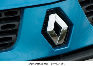 Mulhouse - France - 2 October 2018 - retail of renault Clio logo on blue car front