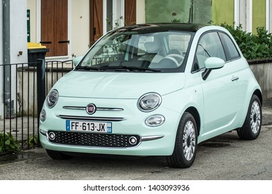 Mulhouse - France - 20 May 2019 - green Fiat 500 parked in the street