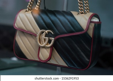 Mulhouse - France - 20 October 2019 - Closeup of leather handbag from Gucci brand in a luxury store showroom