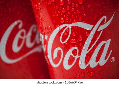 Mulhouse - France - 21 November 2019 - Closeup of drops of water on Coca-cola can tue famous brand of american soft drink