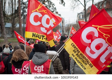 Mulhouse - France - 22 March 2018 - demonstration to defend the rights of civil servants