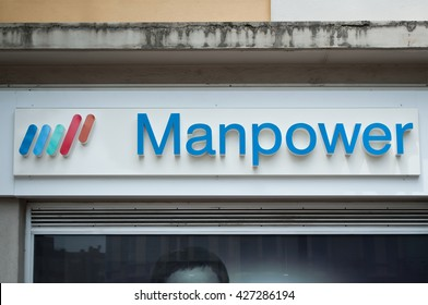 """MULHOUSE - FRANCE - 22 May 2016 - """"Manpowers"""" french temporary employment agency signage"""
