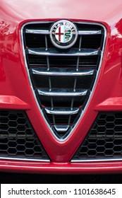 Mulhouse - France - 23 May 2018 - retail of logo on alfa romeo front car