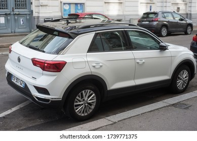 Mulhouse - France - 24 May 2020 - Rear view of white Volkswagen T Roc parked in the street