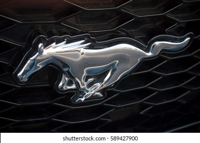 MULHOUSE - France - 26 February 2017 - closeup of ford mustang logo on car