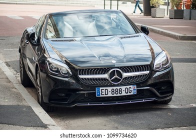 Mulhouse - France - 27 May 2018 - closeup of coupe mercedes Benz SLC 220  car parked in the Street