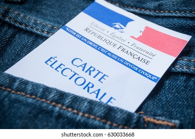 MULHOUSE - France - 28 April 2017 - closeup of french electoral card in blue jeans pocket