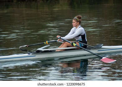 Mulhouse - France - 3 November 2018 - woman  rowing in the channel