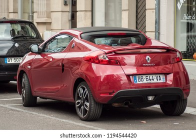 Mulhouse - France - 3 October 2018 - red Renault Wind parked in the street. The Renault Wind is a french convertible car released in 2011 sold only 14,000 copies
