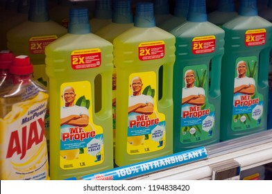 """Mulhouse - France - 3 October 2018 - closeup of french detergent bottle from Mr propre brand  at Super U supermarket, with french text """"mr proper"""", traduction in english : mister clean"""