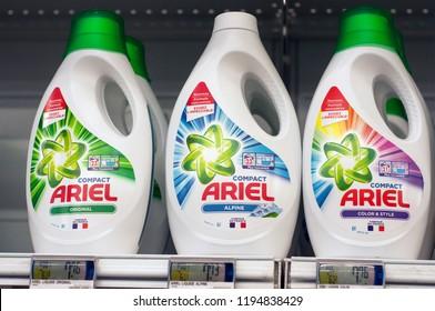 Mulhouse - France - 3 October 2018 - closeup of detergent bottle  from Ariel brand  at Super U supermarket